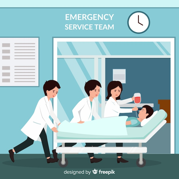 Emergency service team Free Vector