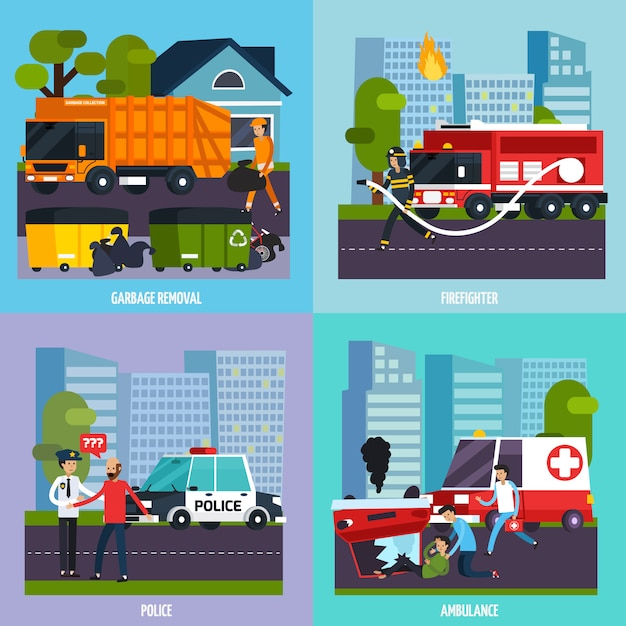 Emergency services icon set Free Vector