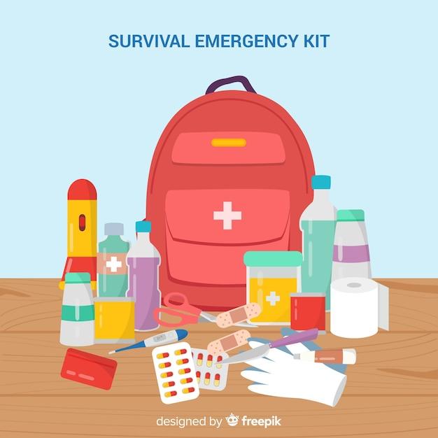 Emergency survival kit in flat design Free Vector