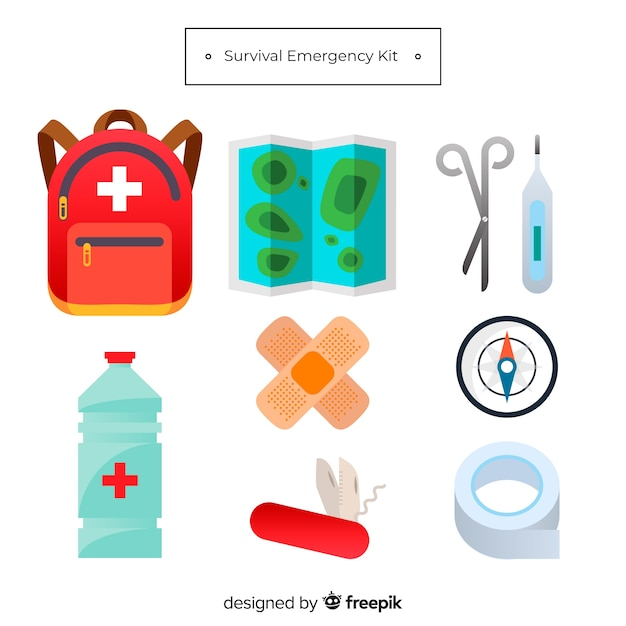 Emergency survival kit in flat design Free Vector