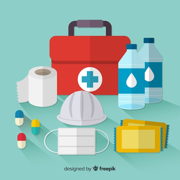 Emergency survival kit in flat style Free Vector