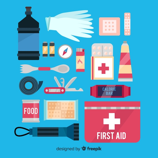 Emergency survival kit with flat design Vector | Free Download