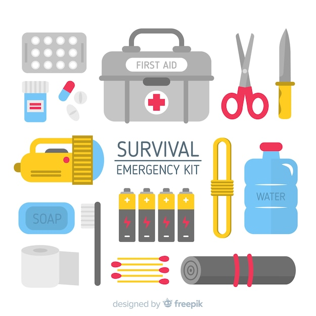 Emergency survival kit with flat design Free Vector