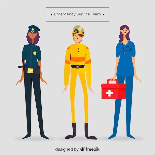 Emergency team in flat style Free Vector