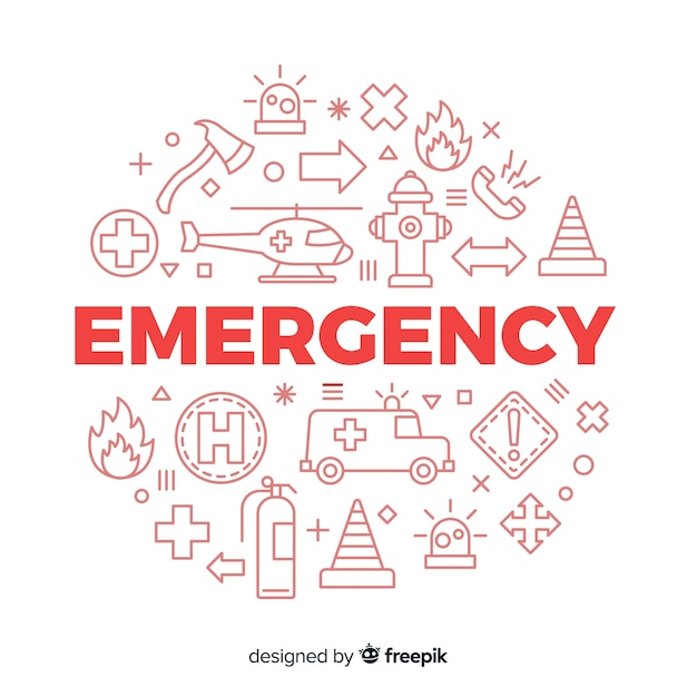 Emergency word concept background Free Vector