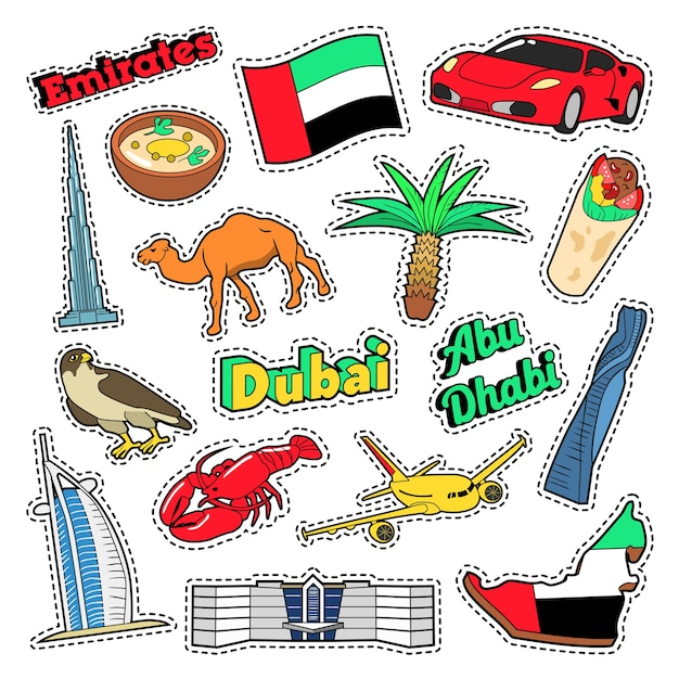 Emirates travel elements with architecture and palm tree. vector doodle Premium Vector