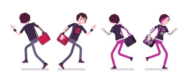 Эмо мальчик и девочка в позе бега Premium векторы