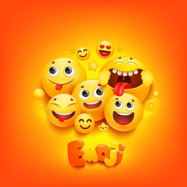 Эмодзи мультфильм группа улыбка персонаж на желтом фоне. выражение лица. Premium векторы