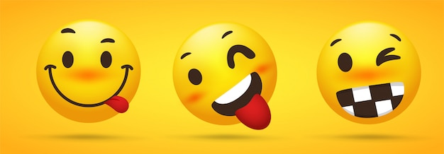 Emoji collection that shows cheeky talent, tricked, playful wheels in yellow background. Premium Vector