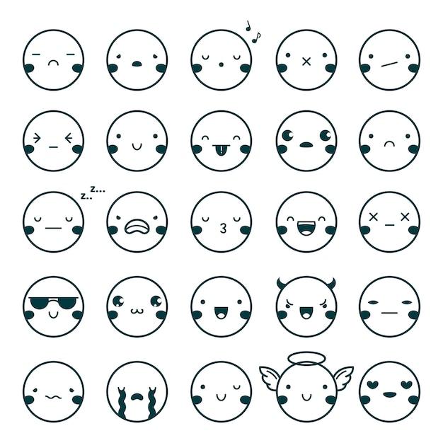 Emoji emoticons black set Free Vector