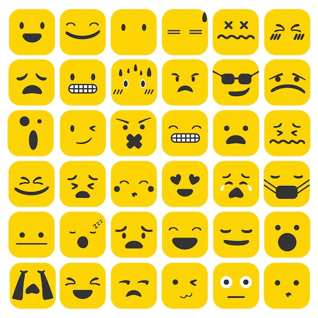 Emoji emoticons set face expression feelings collection Free Vector