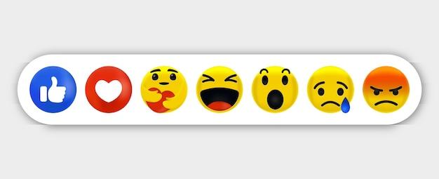 絵文字の感情-ソーシャルメディアの絵文字反応のコレクション、注意深く抱きしめている間の感情 Premiumベクター