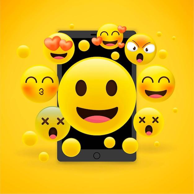 Emoji emotions Premium Vector
