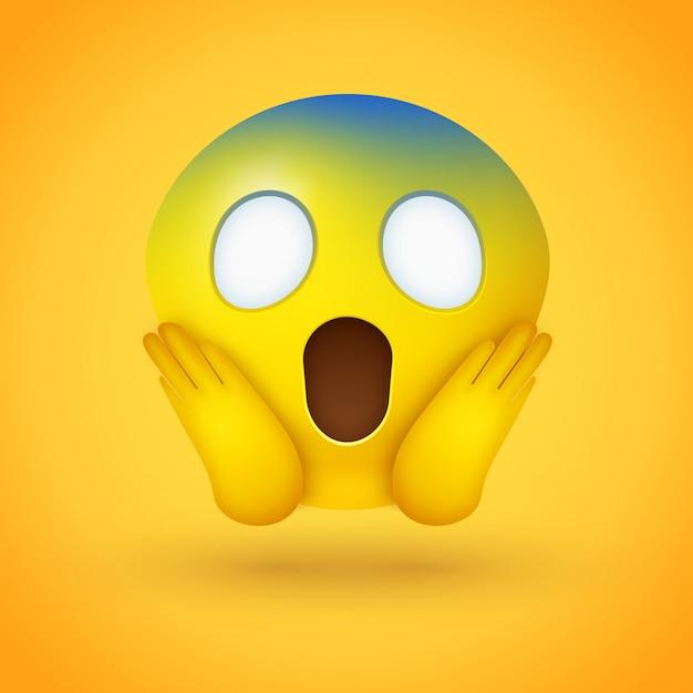 Emoji face screaming in fear Premium Vector