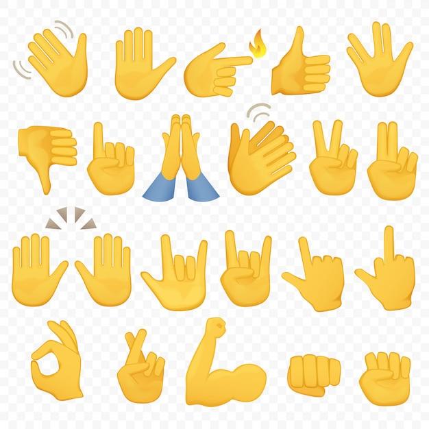 Emoji жесты рук значки Premium векторы