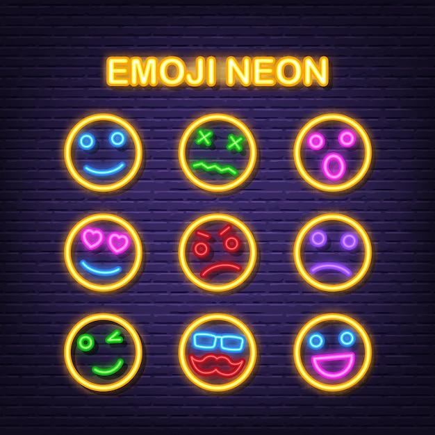 Emoji neon icons Premium Vector