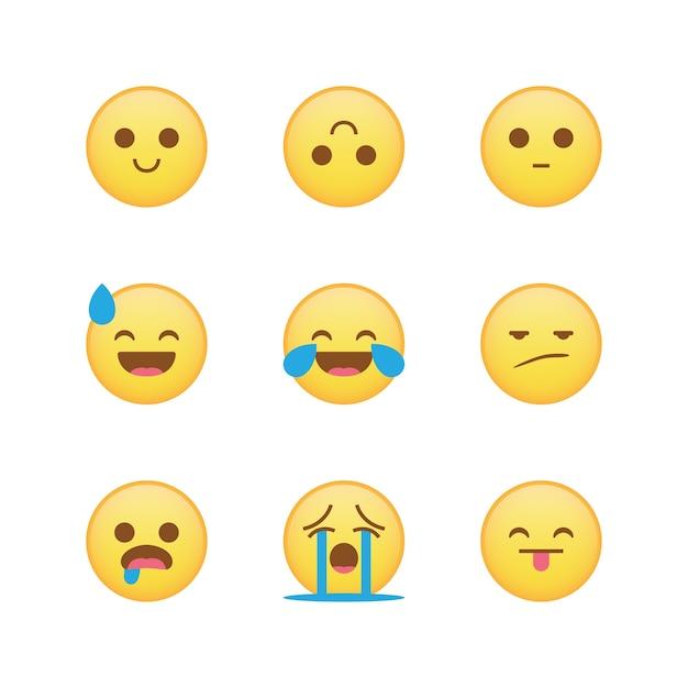 Emoji set vector isolated collection Premium Vector