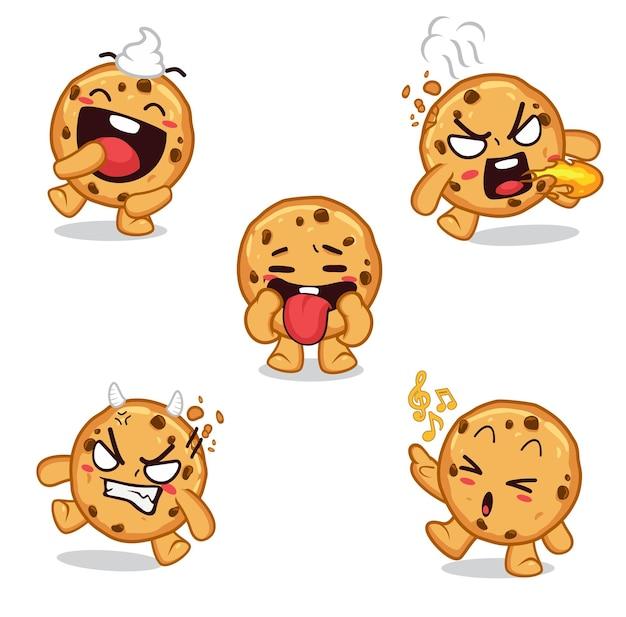 Смайлики наклейки печенье персонаж мультфильм Premium векторы
