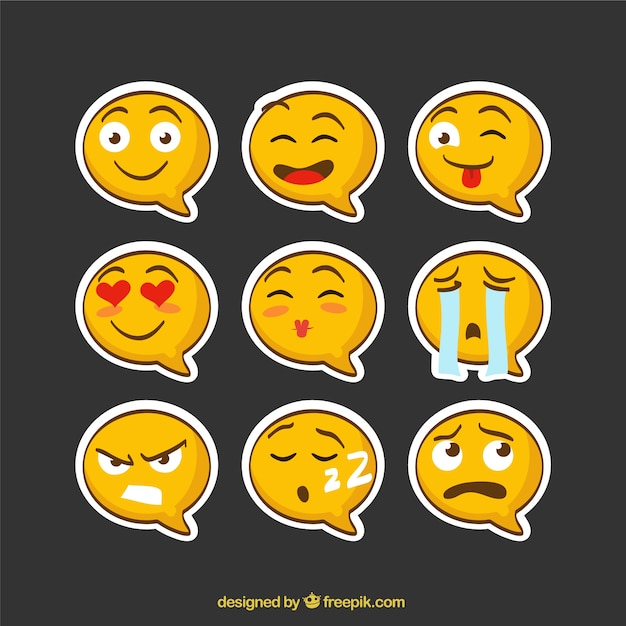 Emoji stickers speech bubble shaped free vector