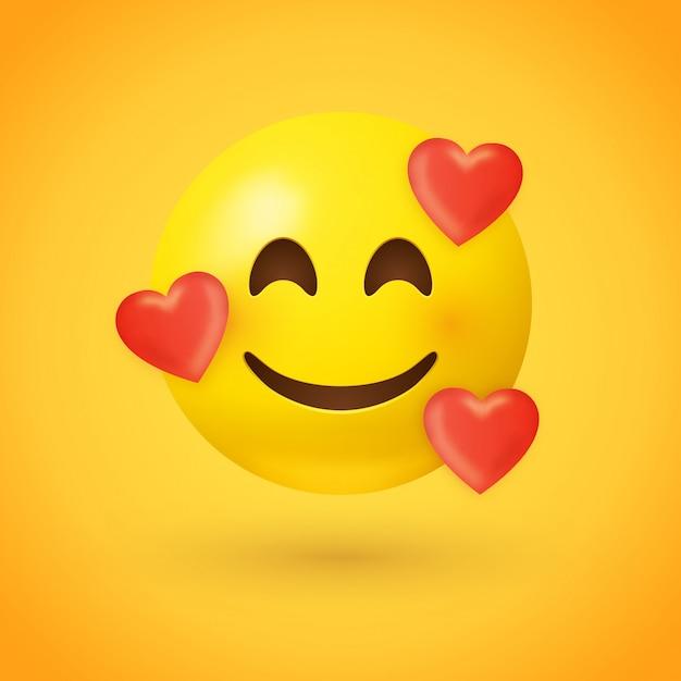 Emoji with hearts Premium Vector