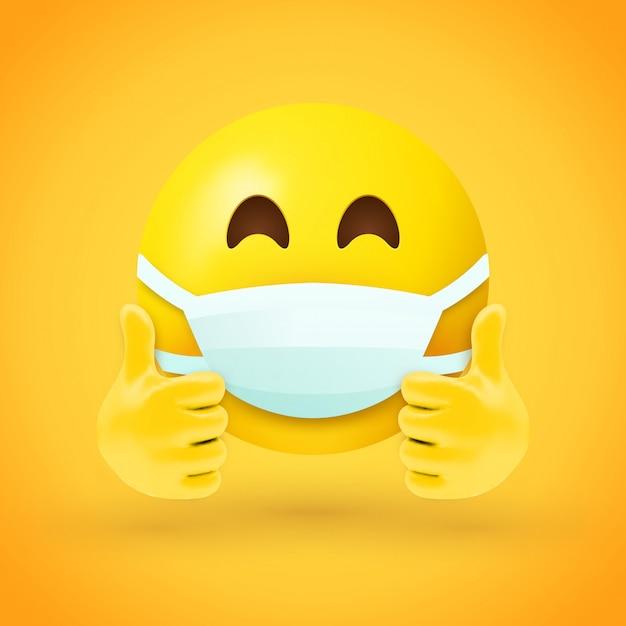 Emoji с маской для рта и большими пальцами Premium векторы