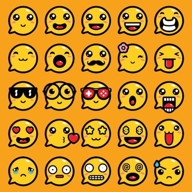 Emoji выражение вектор чат дизайн Premium векторы