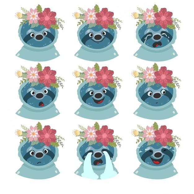Набор ленивцев эмоций. emoji изолированное на белой предпосылке. Premium векторы