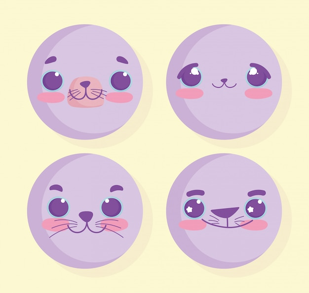Emojis kawaii мультфильм животных лица набор Premium векторы