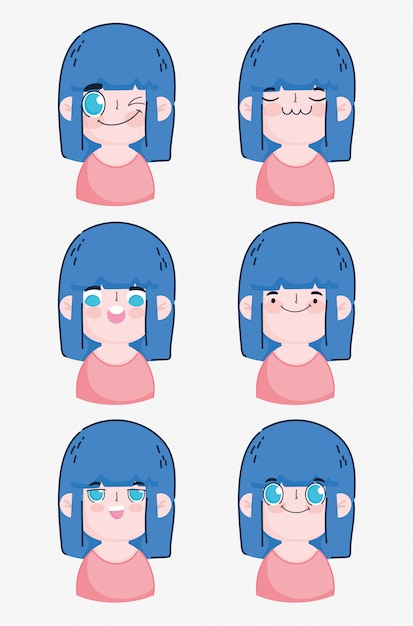 Emojis kawaii cartoon cute girl making different faces  illustration Premium Vector
