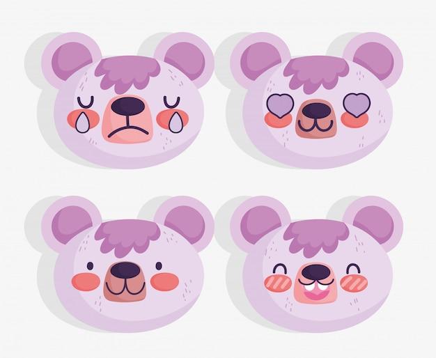 Emojis kawaii мультфильм лица милый медведь Premium векторы