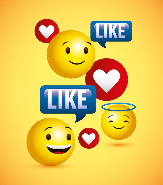 Emojis yellow round face background Premium Vector