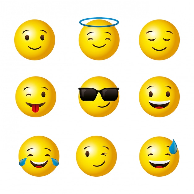 Emojis yellow round face set Premium Vector