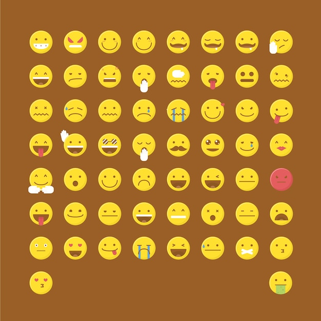 Emoticon icon collection Free Vector