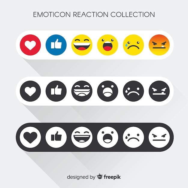 Emoticon reaction collection Free Vector