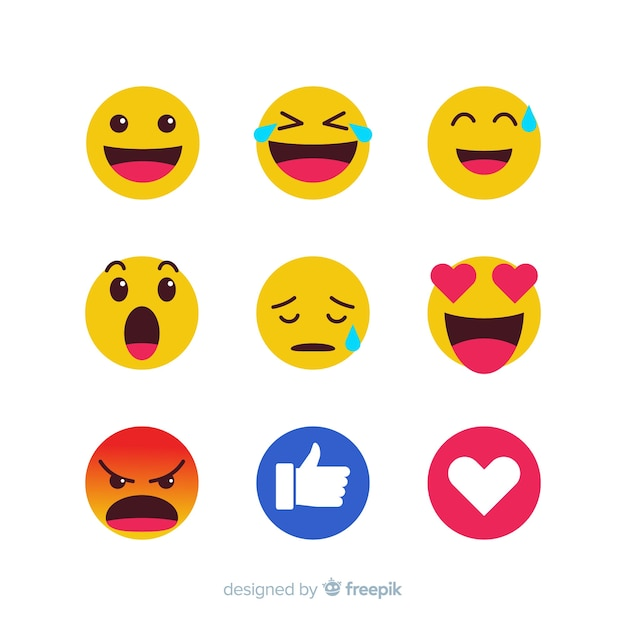 Emoticon reaction collection Free Vector