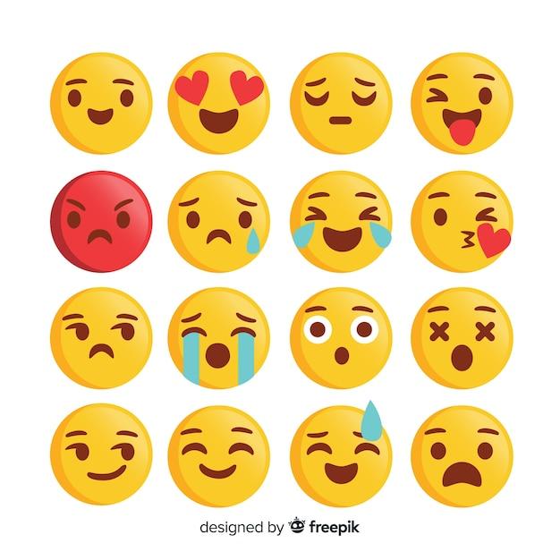 Emoticon reaction collection Premium Vector