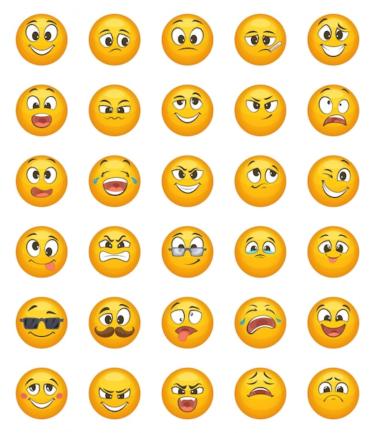 Emoticon set with different funny emotions. vector character set Premium Vector