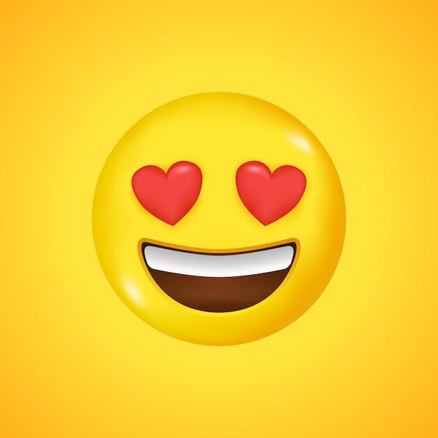 이모티콘 웃는 얼굴. 사랑의 상징. 3d로 큰 웃음 프리미엄 벡터