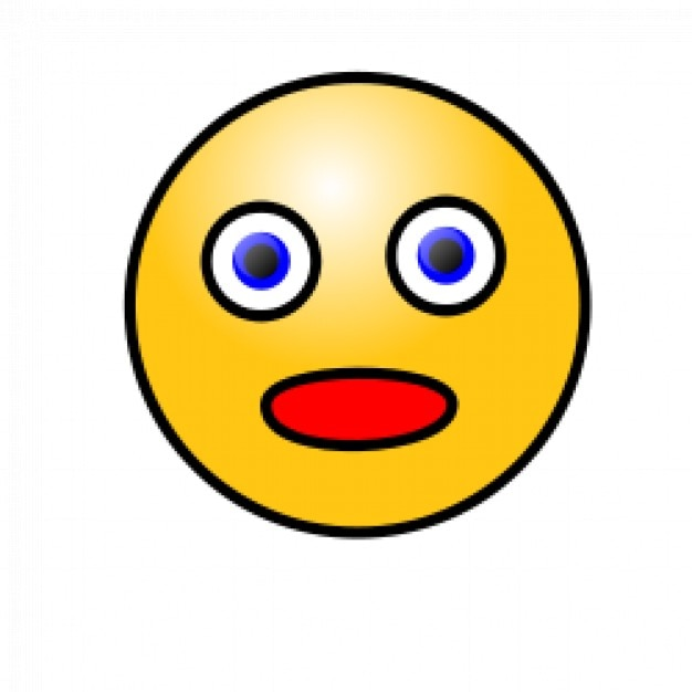 Emoticons: Amazed face Free Vector
