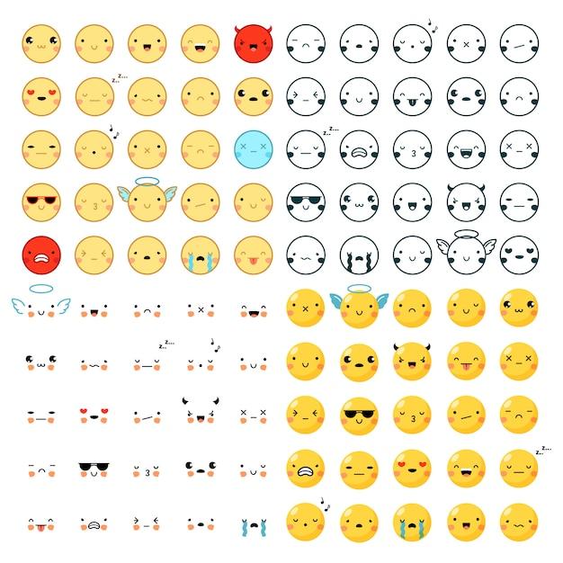 Emoticons big set Premium Vector