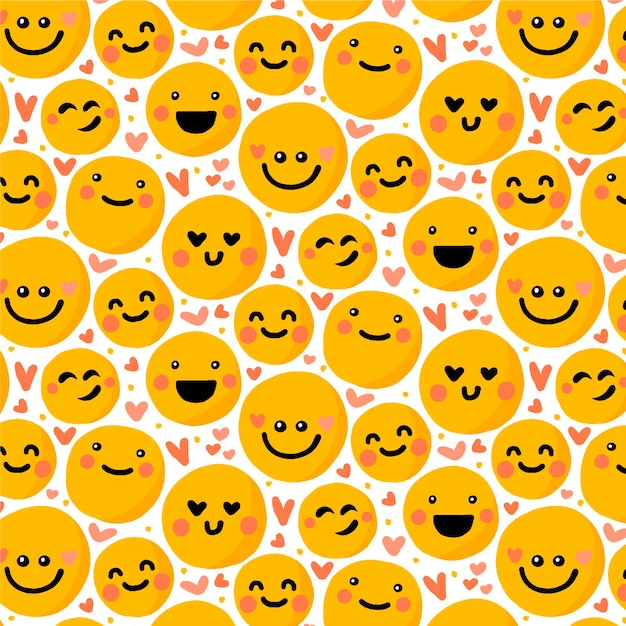 Emoticons and hearts seamless pattern template Free Vector