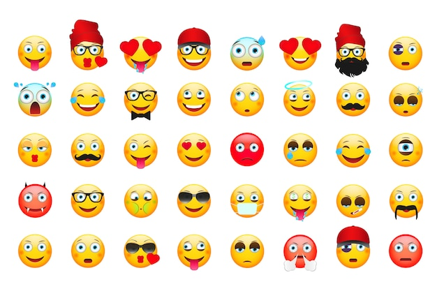 Emoticons isolated on white Premium Vector