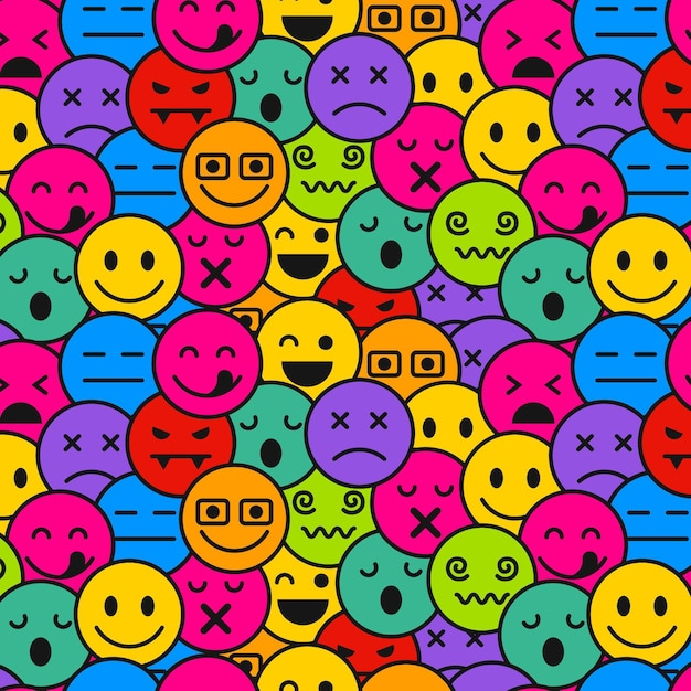 Emoticons seamless pattern template Premium Vector
