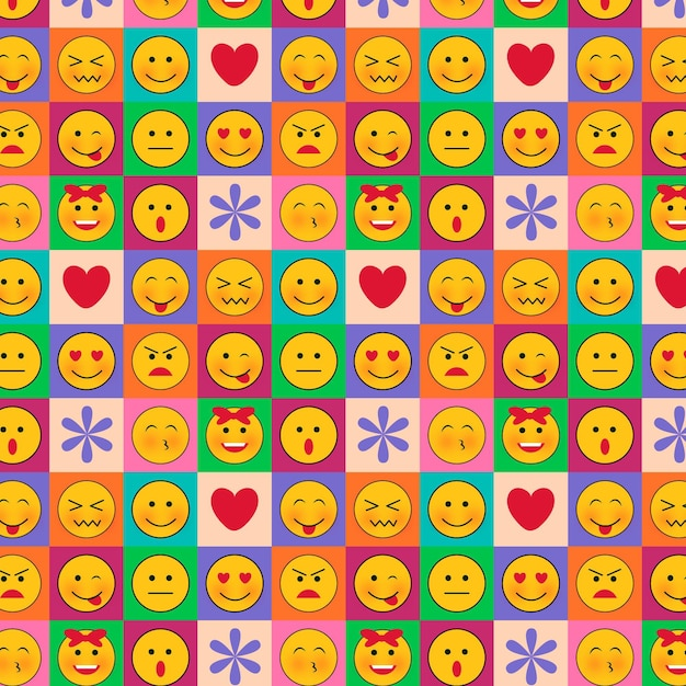 Emoticons in squares seamless pattern template Free Vector