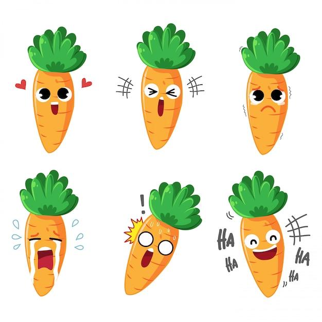 Emotion cartoon морковь разнообразие эмоций и множество жестов Premium векторы
