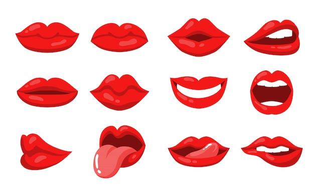 여성 입술과 입으로 감정 표현 무료 벡터