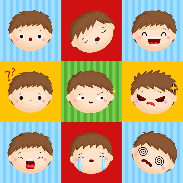 Emotion faces Premium Vector