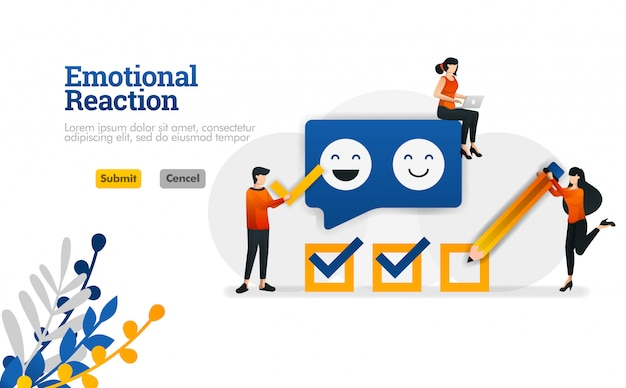 Emotional reaction for users and application developers. marketing and advertising vector illustration Premium Vector