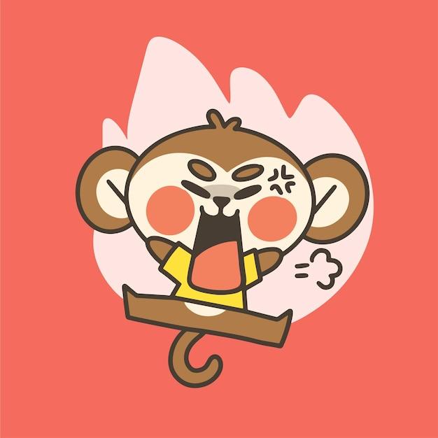 感情的な動揺の小さな猿の少年のマスコット落書きイラスト Premiumベクター