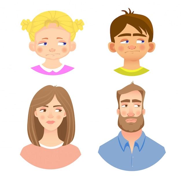 Emotions of human face -set Premium Vector